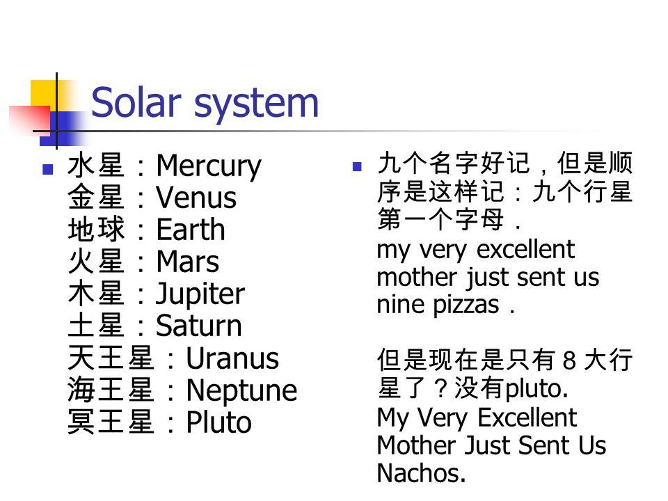 Solar system 水星: Mercury 金星: Venus 地球: Earth 火星: Mars 木星: Jupiter 土星: Saturn 天王星: Uranus 海王星: Neptune 冥王星: Pluto 九个名字好记,但是顺 序是这样记:九个行星 第一个字母. my very
