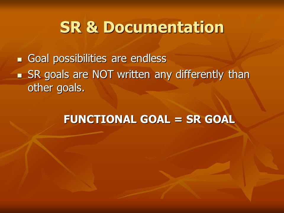 SR & Documentation Goal possibilities are endless Goal possibilities are endless SR goals are NOT written any differently than other goals. SR goals a
