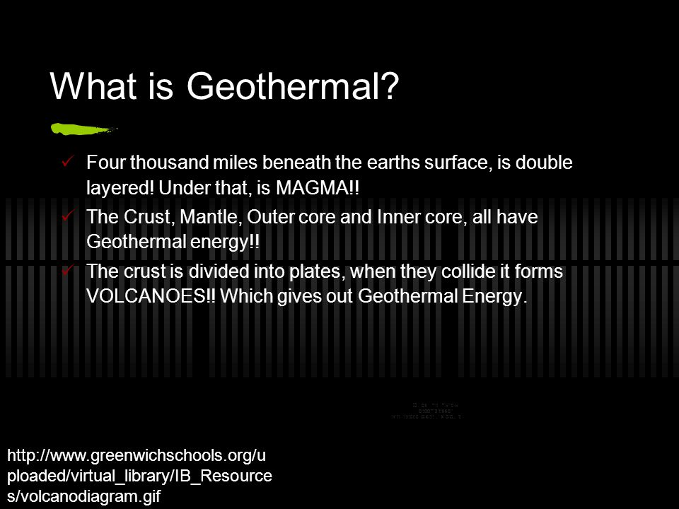 What is Geothermal? Four thousand miles beneath the earths surface, is double layered! Under that, is MAGMA!! The Crust, Mantle, Outer core and Inner