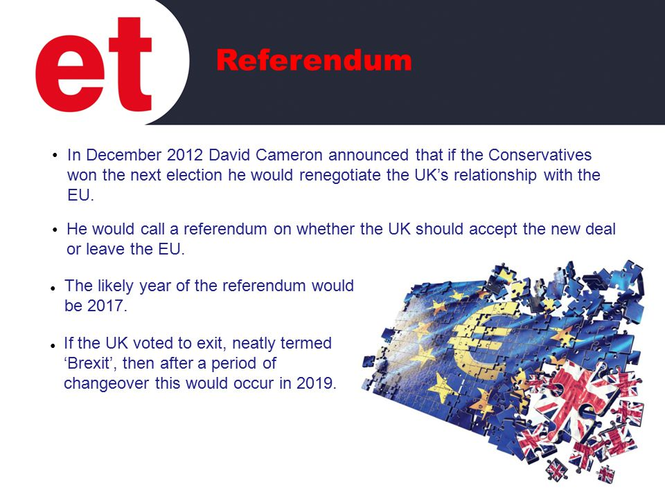 In December 2012 David Cameron announced that if the Conservatives won the next election he would renegotiate the UK's relationship with the EU.