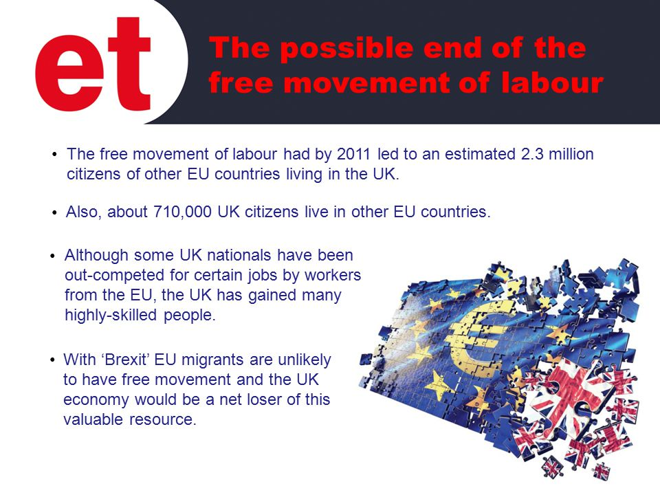The free movement of labour had by 2011 led to an estimated 2.3 million citizens of other EU countries living in the UK.