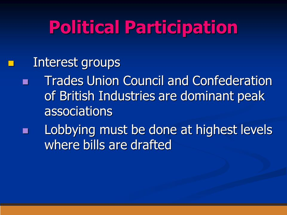 Political Participation Interest groups Interest groups Trades Union Council and Confederation of British Industries are dominant peak associations Tr