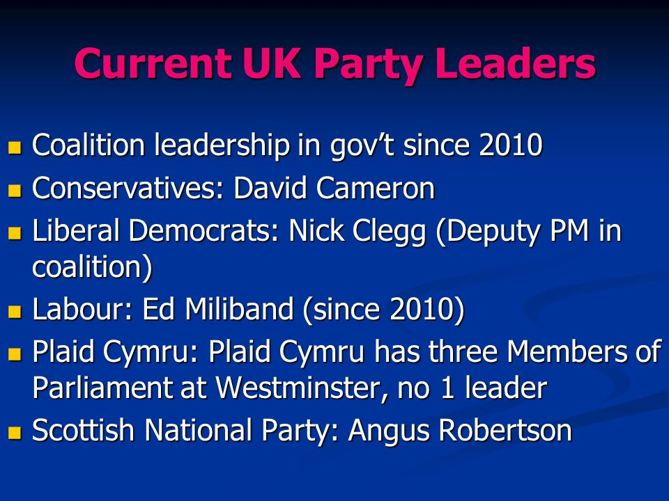 Current UK Party Leaders Coalition leadership in gov't since 2010 Coalition leadership in gov't since 2010 Conservatives: David Cameron Conservatives:
