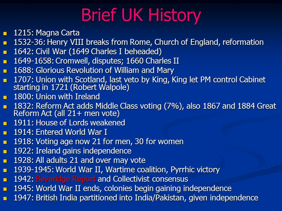 Brief UK History 1215: Magna Carta 1215: Magna Carta 1532-36: Henry VIII breaks from Rome, Church of England, reformation 1532-36: Henry VIII breaks f
