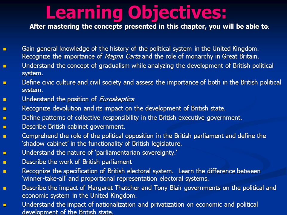 Learning Objectives: After mastering the concepts presented in this chapter, you will be able to : Gain general knowledge of the history of the politi