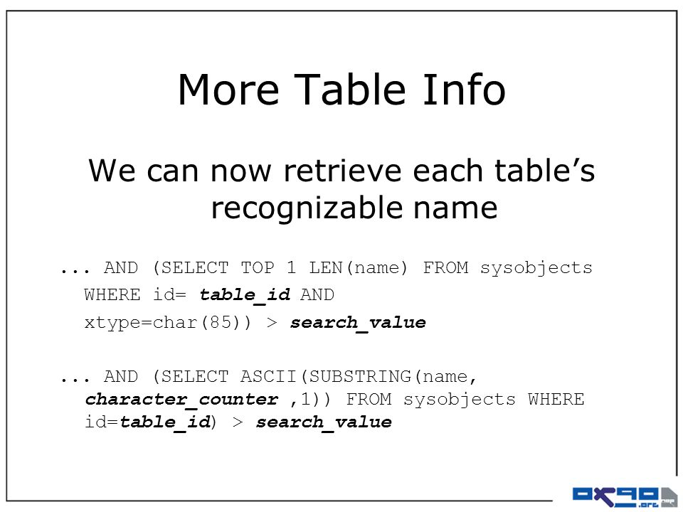 More Table Info We can now retrieve each table's recognizable name...