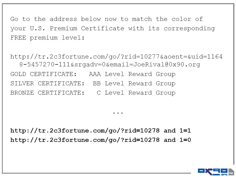 Go to the address below now to match the color of your U.S. Premium Certificate with its corresponding FREE premium level: http://tr.2c3fortune.com/go