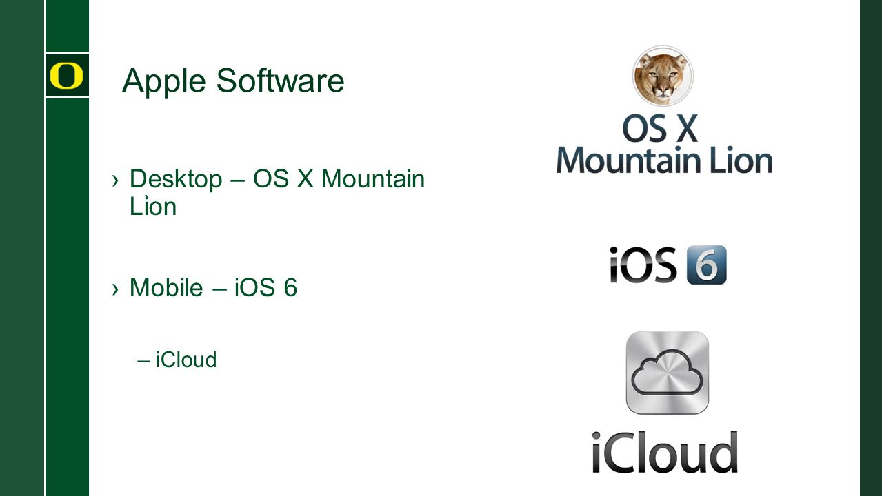 Apple Software ` ›Desktop – OS X Mountain Lion ›Mobile – iOS 6 –iCloud