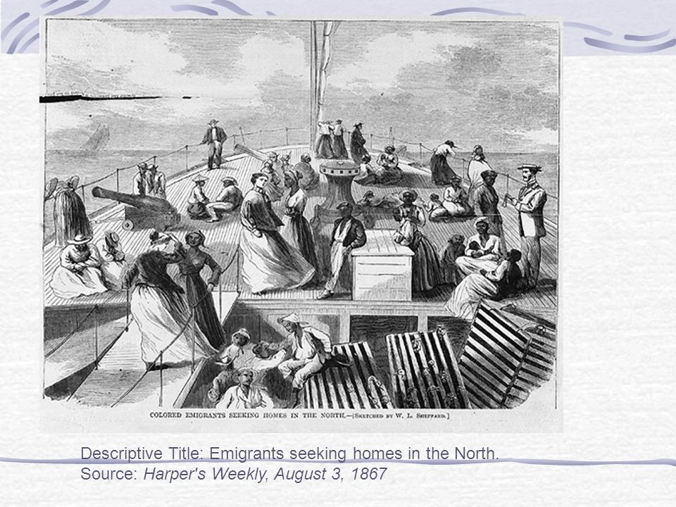 Descriptive Title: Emigrants seeking homes in the North. Source: Harper s Weekly, August 3, 1867