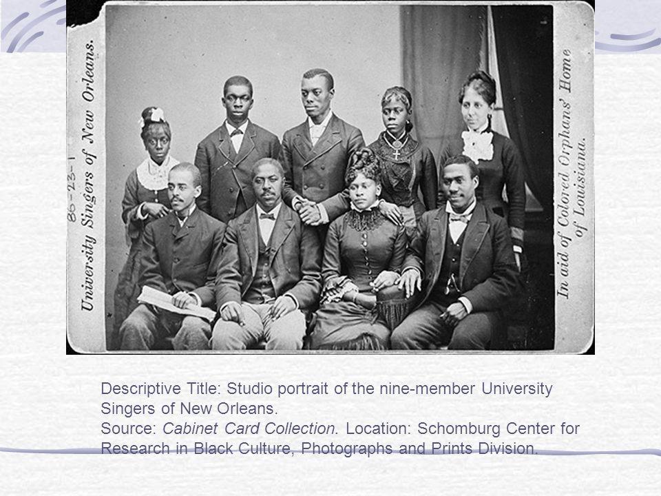 Descriptive Title: Studio portrait of the nine-member University Singers of New Orleans.
