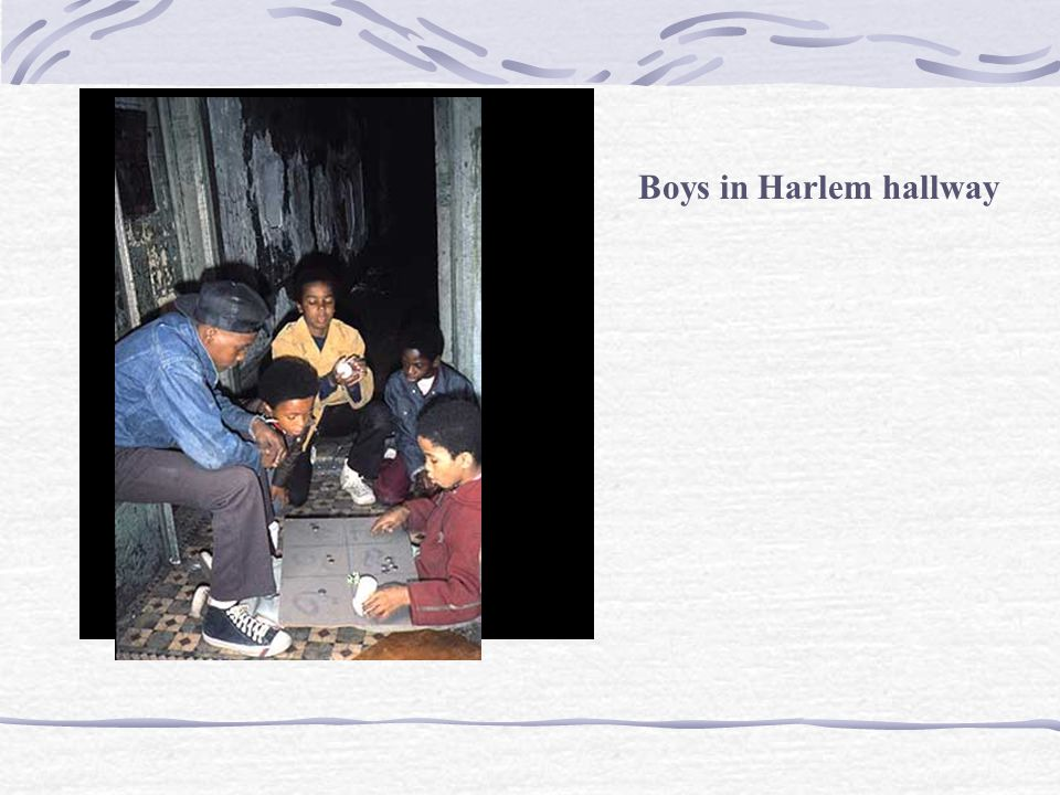 Boys in Harlem hallway