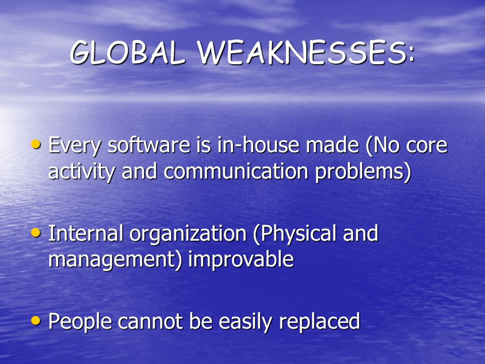 GLOBAL WEAKNESSES: Every software is in-house made (No core activity and communication problems) Every software is in-house made (No core activity and communication problems) Internal organization (Physical and management) improvable Internal organization (Physical and management) improvable People cannot be easily replaced People cannot be easily replaced