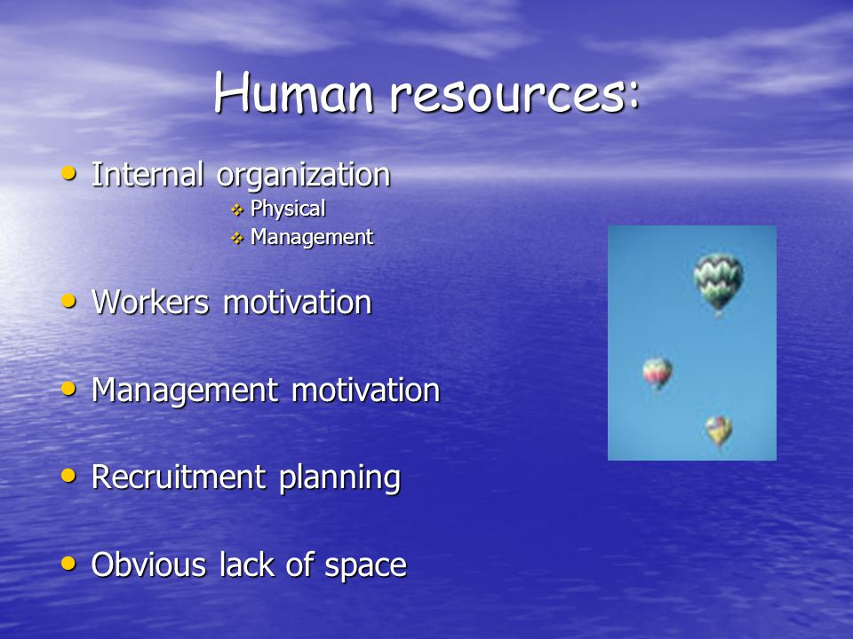 Human resources: Internal organization Internal organization  Physical  Management Workers motivation Workers motivation Management motivation Management motivation Recruitment planning Recruitment planning Obvious lack of space Obvious lack of space