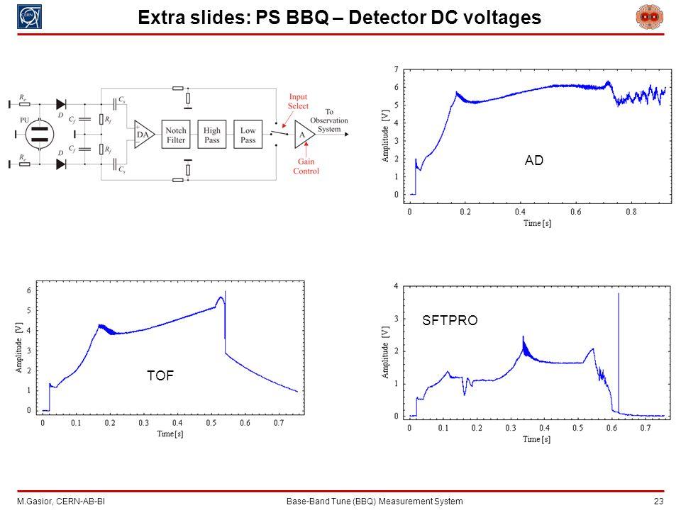 M.Gasior, CERN-AB-BIBase-Band Tune (BBQ) Measurement System 23 Extra slides: PS BBQ – Detector DC voltages AD SFTPRO TOF