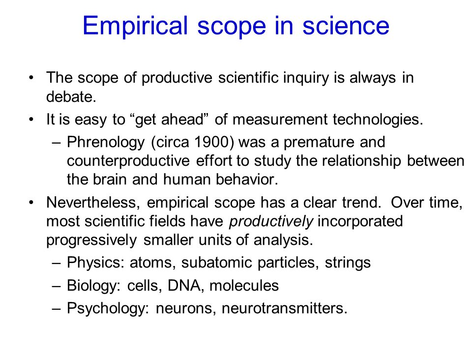 "Empirical scope in science The scope of productive scientific inquiry is always in debate. It is easy to ""get ahead"" of measurement technologies. –Phr"