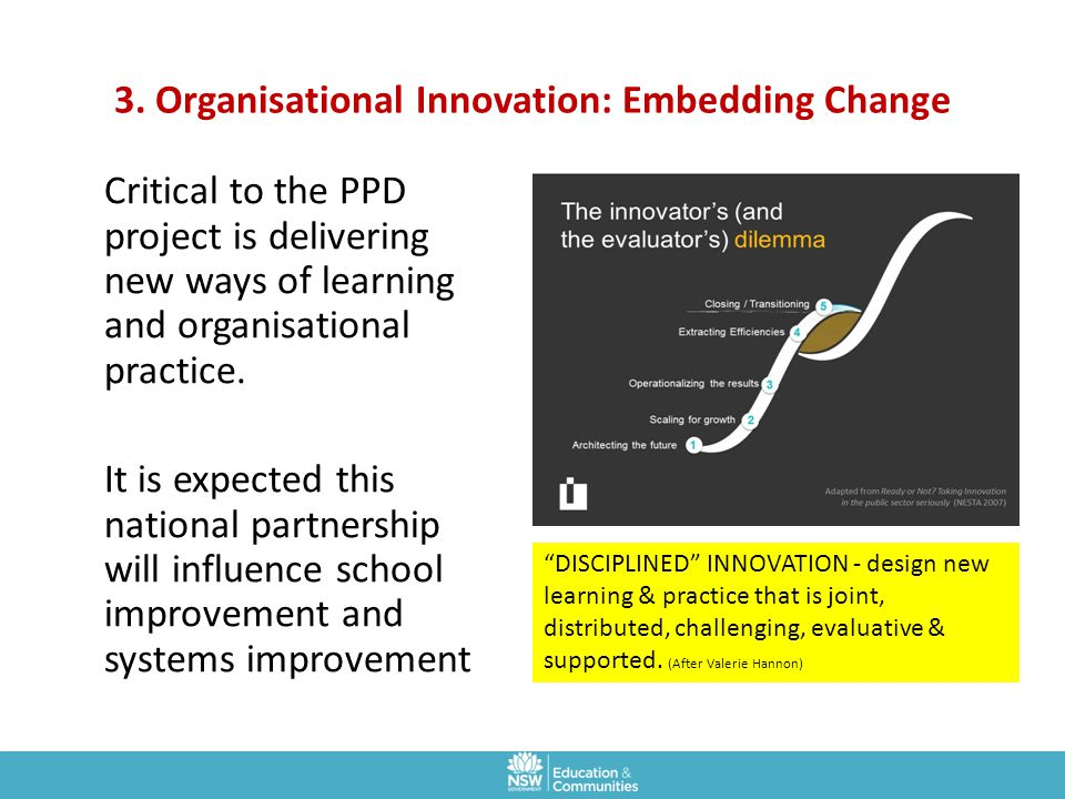 3. Organisational Innovation: Embedding Change Critical to the PPD project is delivering new ways of learning and organisational practice. It is expec