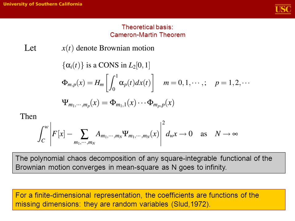 Theoretical basis: Cameron-Martin Theorem The polynomial chaos decomposition of any square-integrable functional of the Brownian motion converges in mean-square as N goes to infinity.