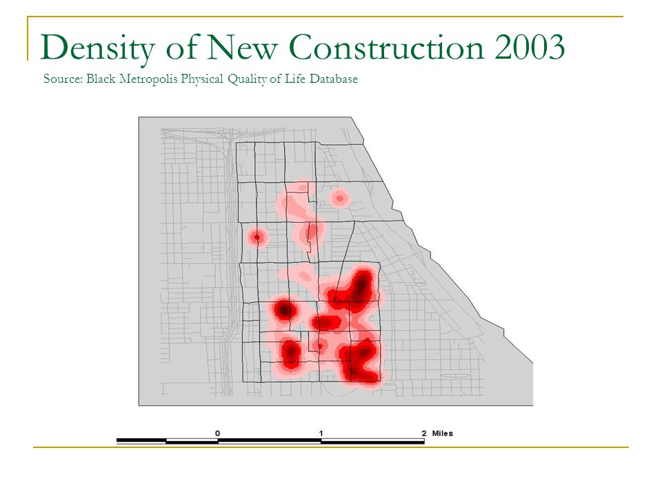 Density of New Construction 2003 Source: Black Metropolis Physical Quality of Life Database