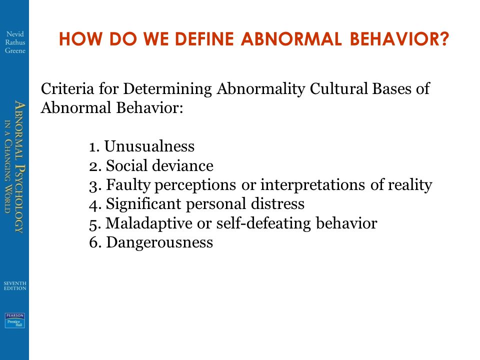 HOW DO WE DEFINE ABNORMAL BEHAVIOR.