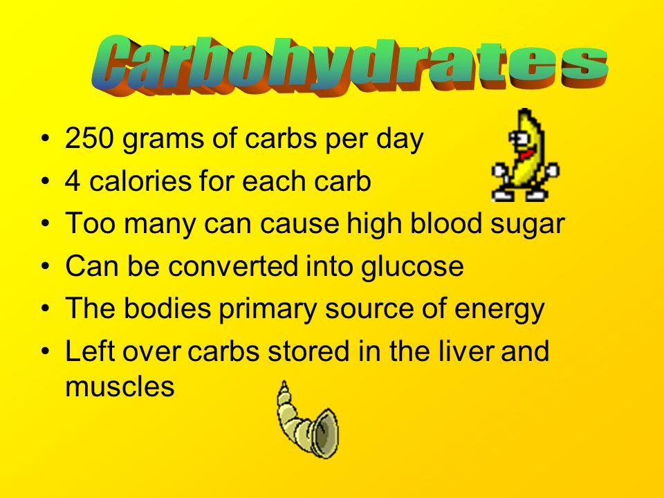 250 grams of carbs per day 4 calories for each carb Too many can cause high blood sugar Can be converted into glucose The bodies primary source of energy Left over carbs stored in the liver and muscles