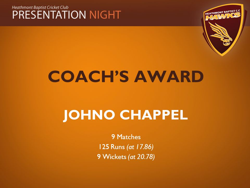 COACH'S AWARD JOHNO CHAPPEL 9 Matches 125 Runs (at 17.86) 9 Wickets (at 20.78)