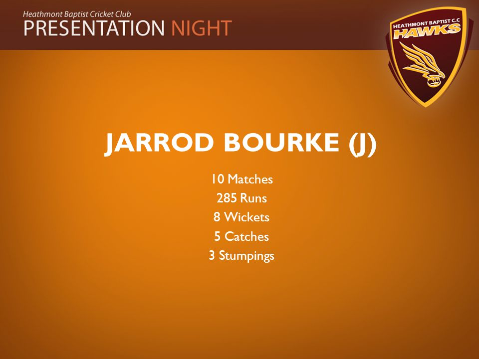 JARROD BOURKE (J) 10 Matches 285 Runs 8 Wickets 5 Catches 3 Stumpings
