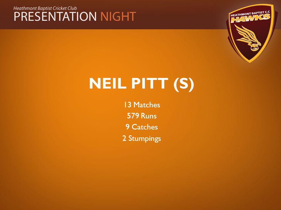 NEIL PITT (S) 13 Matches 579 Runs 9 Catches 2 Stumpings
