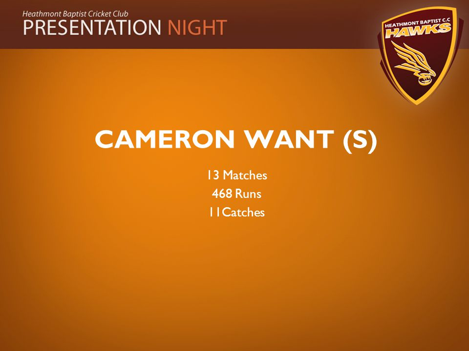 CAMERON WANT (S) 13 Matches 468 Runs 11Catches