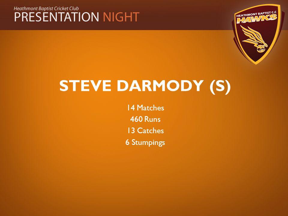 STEVE DARMODY (S) 14 Matches 460 Runs 13 Catches 6 Stumpings