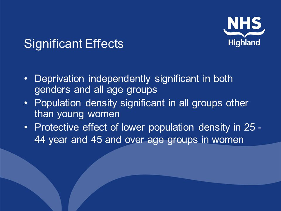 Significant Effects Deprivation independently significant in both genders and all age groups Population density significant in all groups other than y