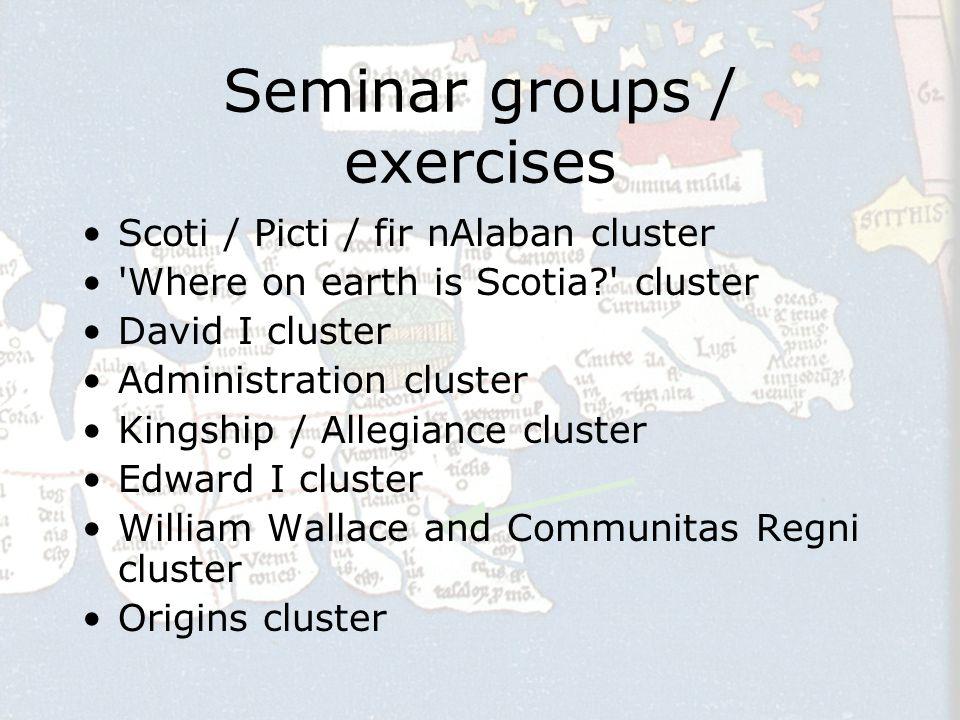 Scoti / Picti / fir nAlaban cluster General early nomenclature: Scoti = Gaels/Irish Bede > Scoti (Gaels) in Dal Riata (C7th) Picti > non-Gael inhabitants of Alba.