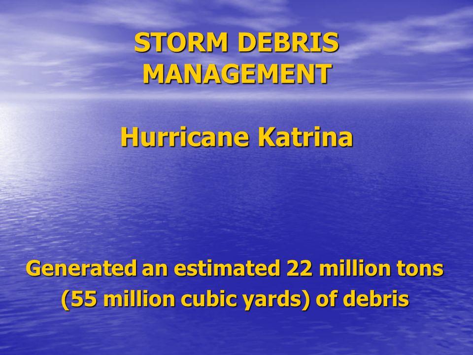 Hurricane Rita Generated an estimated 2.6 million tons (6 million cubic yards) of debris