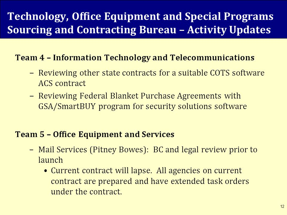 Technology, Office Equipment and Special Programs Sourcing and Contracting Bureau – Activity Updates Team 4 – Information Technology and Telecommunica