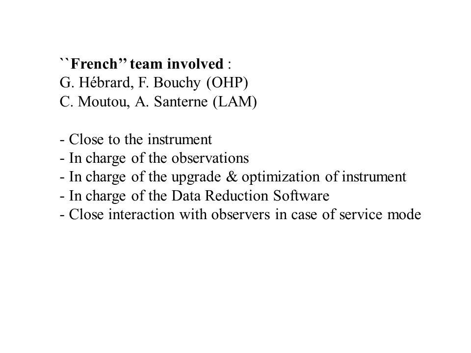 ``French'' team involved : G. Hébrard, F. Bouchy (OHP) C.