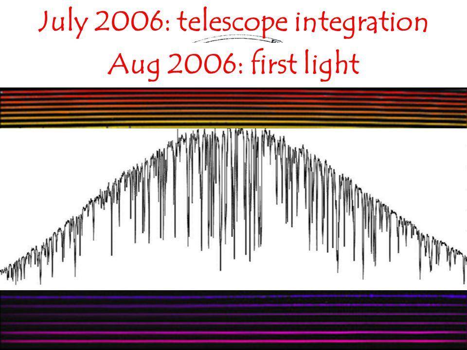 July 2006: telescope integration Aug 2006: first light