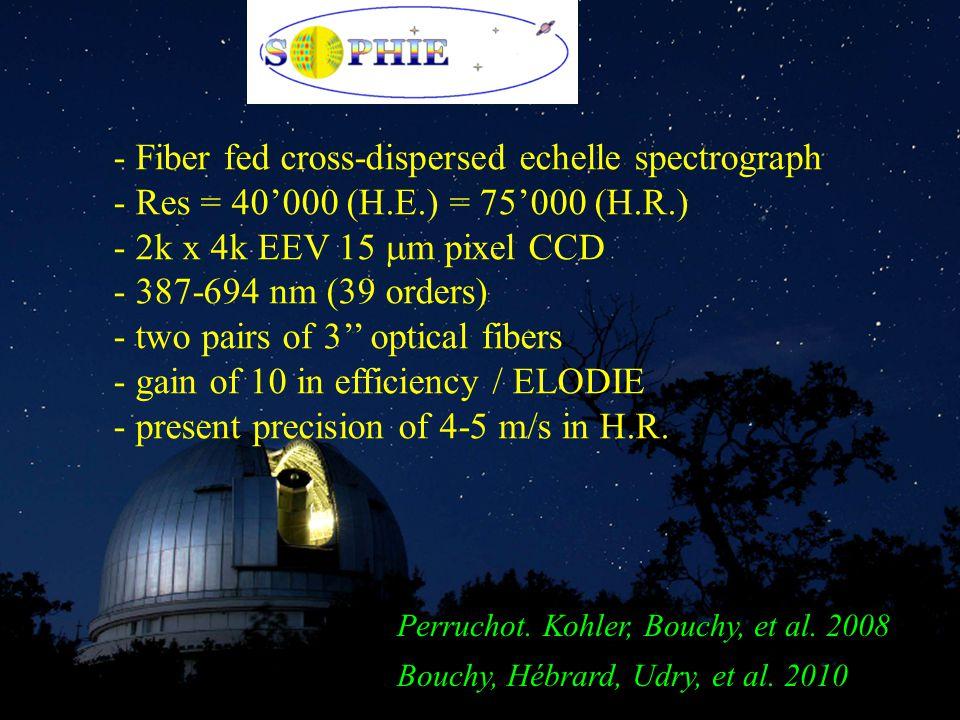 - Fiber fed cross-dispersed echelle spectrograph - Res = 40'000 (H.E.) = 75'000 (H.R.) - 2k x 4k EEV 15  m pixel CCD - 387-694 nm (39 orders) - two pairs of 3'' optical fibers - gain of 10 in efficiency / ELODIE - present precision of 4-5 m/s in H.R.