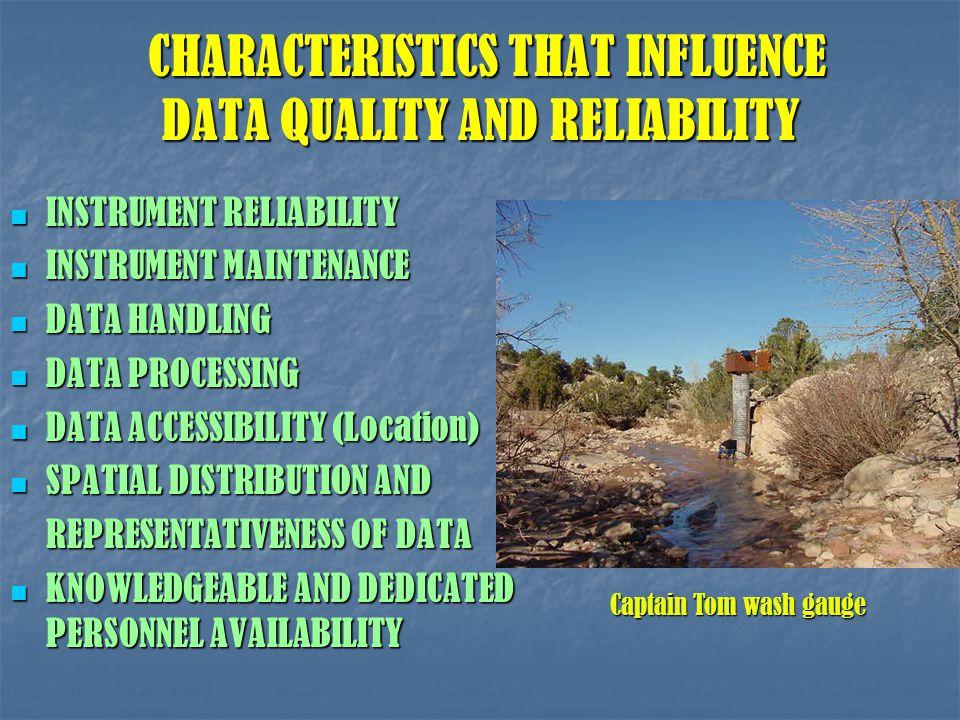 CHARACTERISTICS THAT INFLUENCE DATA QUALITY AND RELIABILITY CHARACTERISTICS THAT INFLUENCE DATA QUALITY AND RELIABILITY INSTRUMENT RELIABILITY INSTRUM