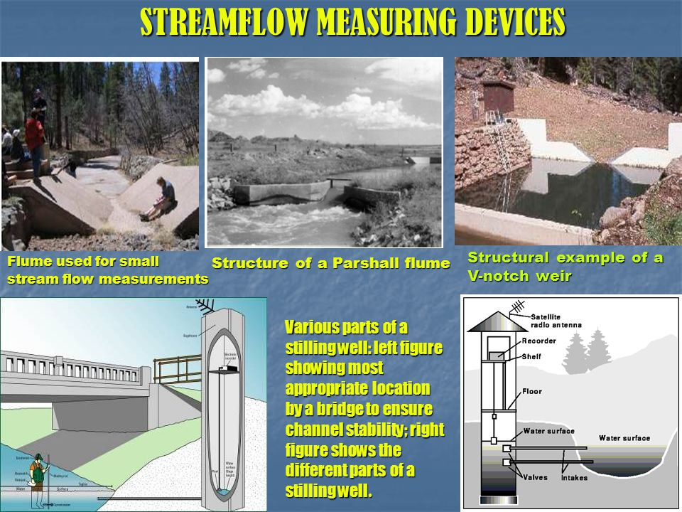 STREAMFLOW MEASURING DEVICES STREAMFLOW MEASURING DEVICES Flume used for small stream flow measurements Various parts of a stilling well: left figure showing most appropriate location by a bridge to ensure channel stability; right figure shows the different parts of a stilling well.