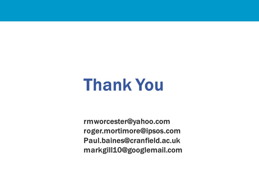 Thank You rmworcester@yahoo.com roger.mortimore@ipsos.com Paul.baines@cranfield.ac.uk markgill10@googlemail.com