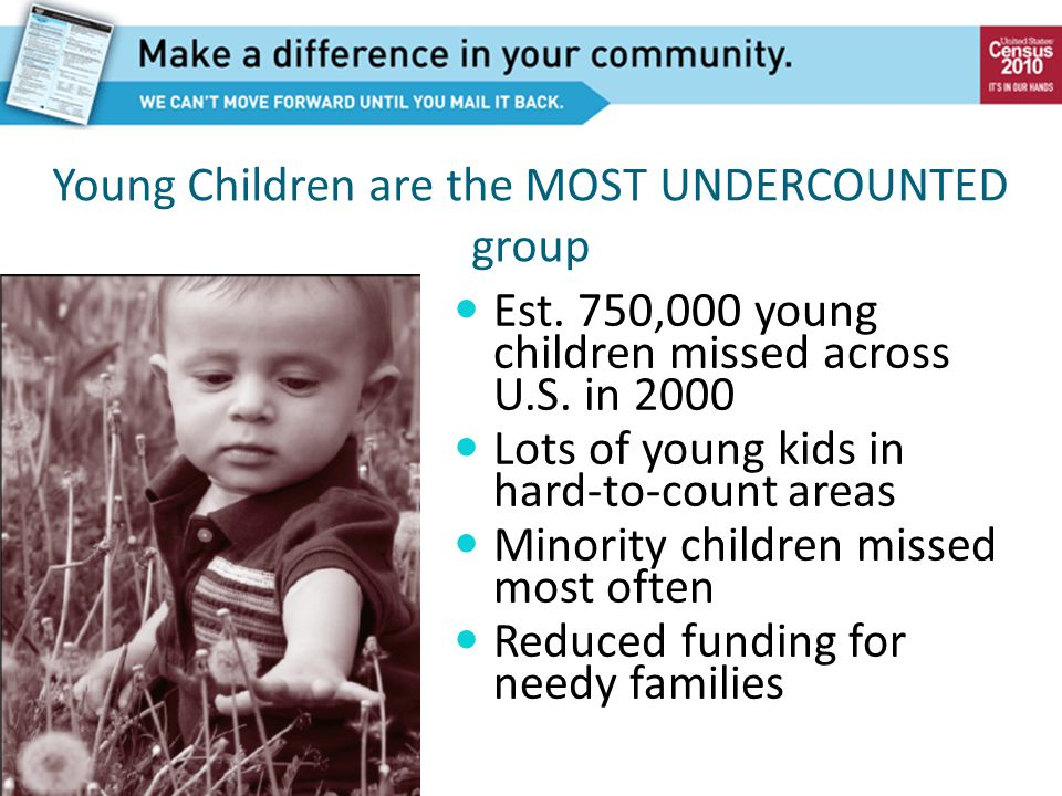 Young Children are the MOST UNDERCOUNTED group Est. 750,000 young children missed across U.S. in 2000 Lots of young kids in hard-to-count areas Minori