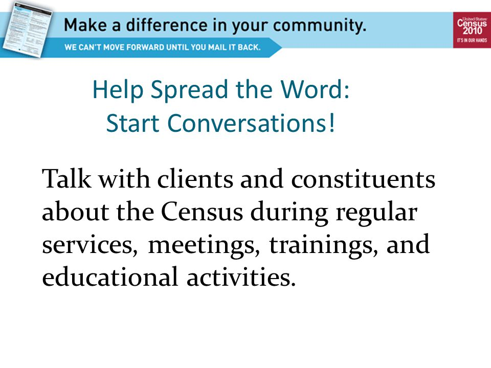 Help Spread the Word: Start Conversations.