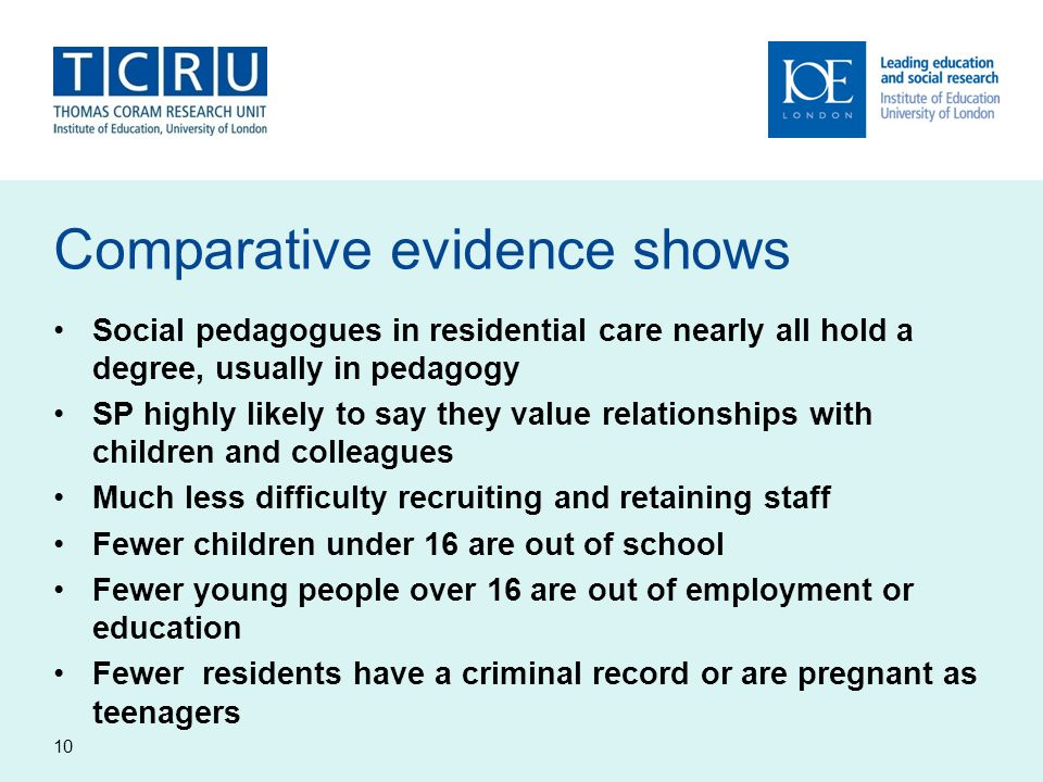 Comparative evidence shows Social pedagogues in residential care nearly all hold a degree, usually in pedagogy SP highly likely to say they value relationships with children and colleagues Much less difficulty recruiting and retaining staff Fewer children under 16 are out of school Fewer young people over 16 are out of employment or education Fewer residents have a criminal record or are pregnant as teenagers 10