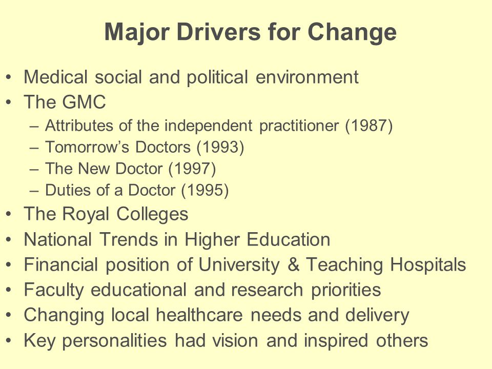 Major Drivers for Change Medical social and political environment The GMC –Attributes of the independent practitioner (1987) –Tomorrow's Doctors (1993) –The New Doctor (1997) –Duties of a Doctor (1995) The Royal Colleges National Trends in Higher Education Financial position of University & Teaching Hospitals Faculty educational and research priorities Changing local healthcare needs and delivery Key personalities had vision and inspired others