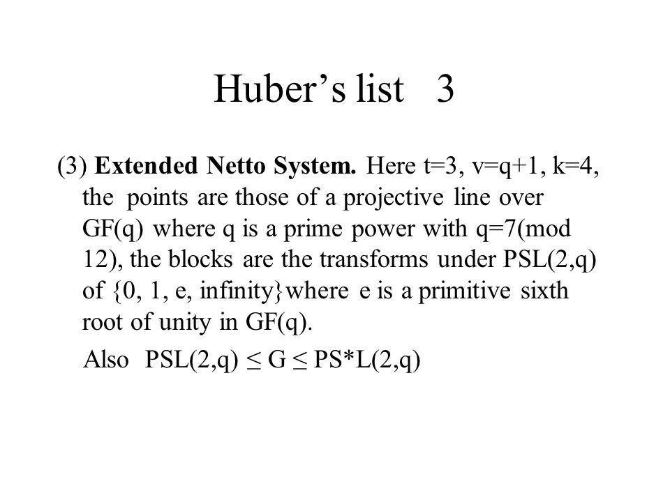 Huber's list 3 (3) Extended Netto System.
