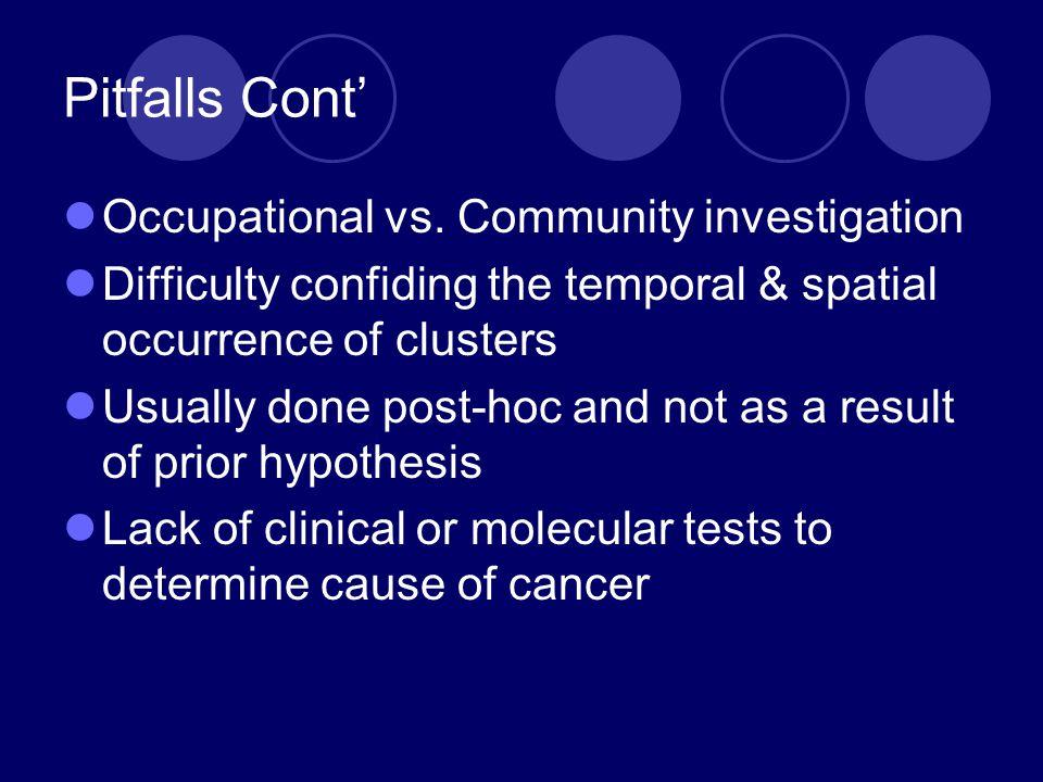 Pitfalls Cont' Occupational vs.