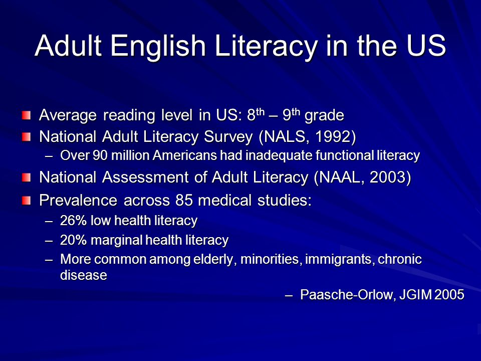 Adult English Literacy in the US Average reading level in US: 8 th – 9 th grade National Adult Literacy Survey (NALS, 1992) –Over 90 million Americans
