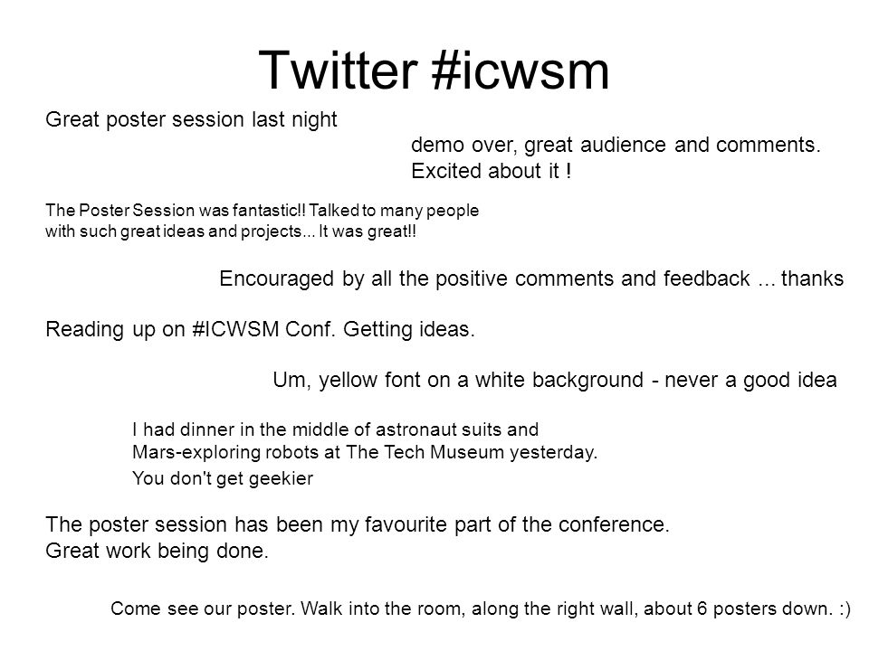 Twitter #icwsm demo over, great audience and comments.