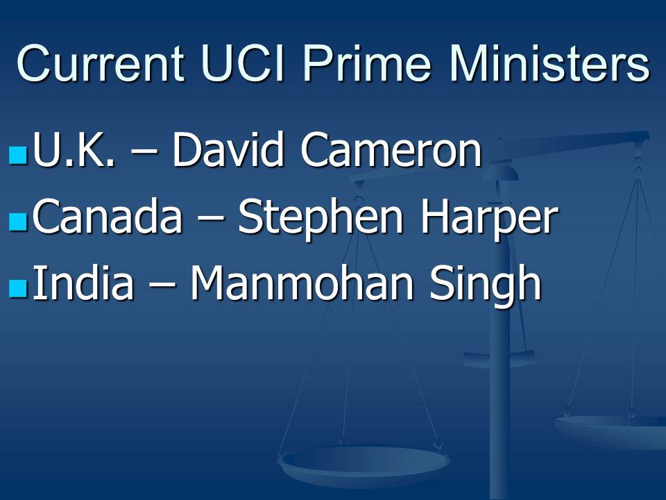 Current UCI Prime Ministers U.K. – David Cameron U.K.