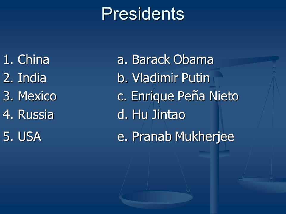 Presidents 1. Chinaa. Barack Obama 2. India b. Vladimir Putin 3.