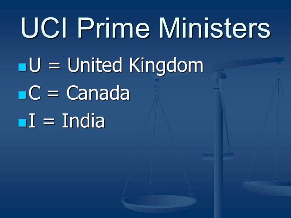 UCI Prime Ministers U = United Kingdom U = United Kingdom C = Canada C = Canada I = India I = India